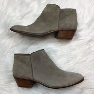 Sam Edelman Petty Gray Suede Ankle Boots